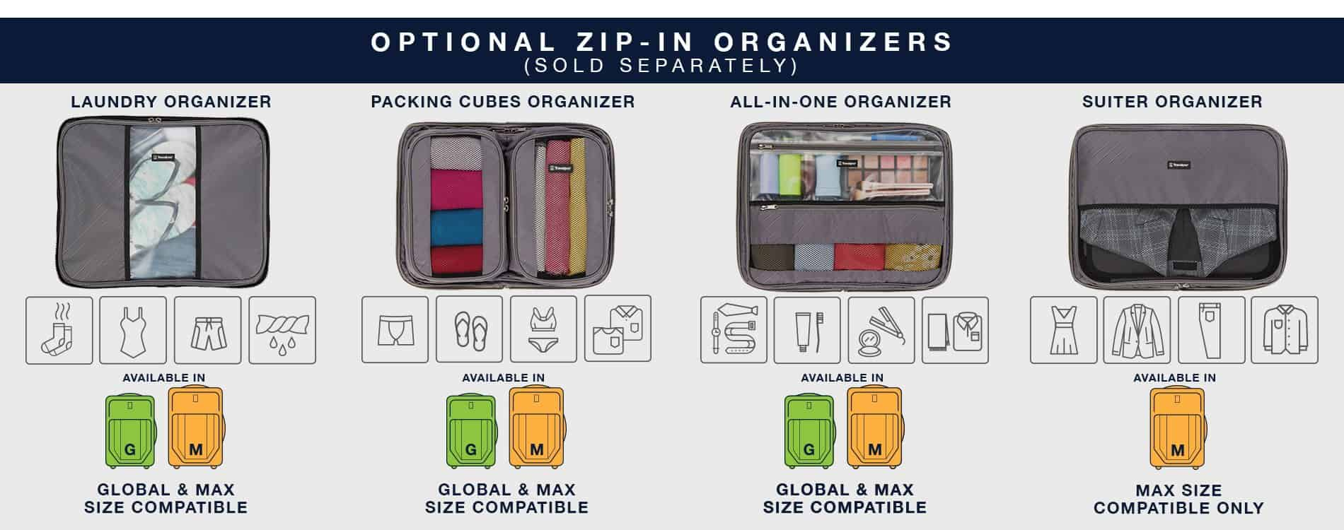 Travelpro Crew VersaPack Packing Organizer Options